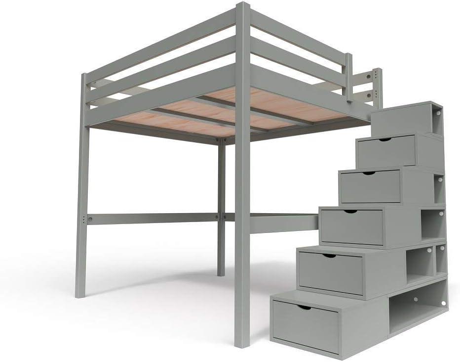 Couleur: Gris Aluminium Dimensions: 160x200 2 Places ABC MEUBLES Sommier /à Lattes Kit No/é Bois