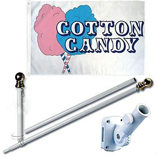 Ant Enterprises Cotton Candy 3 x 5 FT Flag Set + 6 Ft Spinning Tangle Free Pole + Bracket