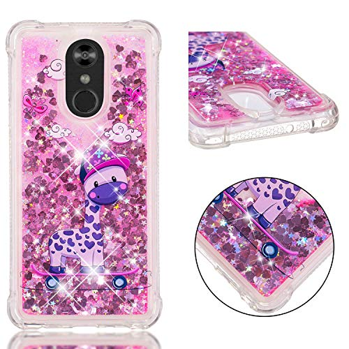 (LG Stylo 4 Case, LG Q Stylus Case, KAWOO Luxury Bling Flowing Liquid Floating Sparkle Glitter TPU Bumper Case for LG Stylo 4 Phone, Skateboard Giraffe)