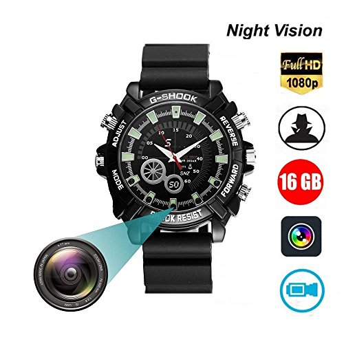 6GB DVR Cameras Multifunctional Smart Wrist Waterproof Watch IR Night Vision with Cameras for Home Outdoor HD 1080P Built-in 16GB (Black) ()