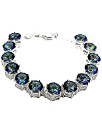 Christmas Gifts Mystic fire Topaz Silver Womens Bracelet 8 inches