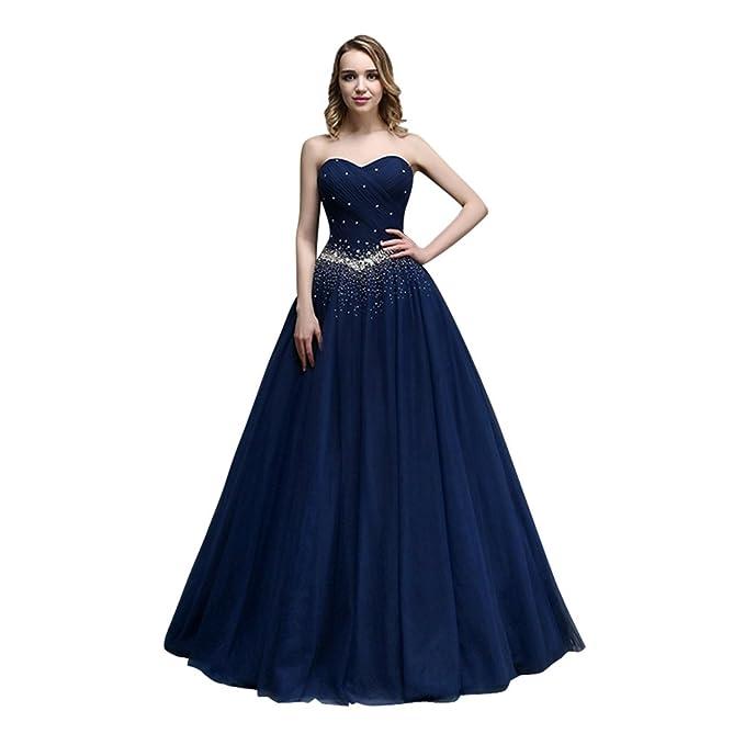 XIAOMING Vestidos Para Mujer Largo Vestido de Noche de Coctail de Fiesta Navy Blue 36