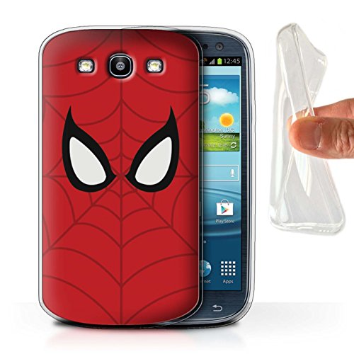 STUFF4 Gel TPU Phone Case/Cover for Samsung Galaxy S3/SIII/Spider-Man Mask Inspired Design/Super Hero Comic Art - Samsung Case S3 Galaxy Spiderman