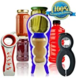 Bottle Jar & Can Opener 3 Pack Multi-Opener Kitchen Tool Bundle Set Lid Seal Remover Mobility Aids For Arthritis Twister Grips Lid Twist Off Rheumatoid Arthritis Products & Aids