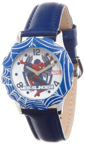 DC+Comics+Watch Products : Marvel Kids' W000315 Marvel Tween Spider-Man Stainless Steel Blue Bezel Blue Leather Strap Watch
