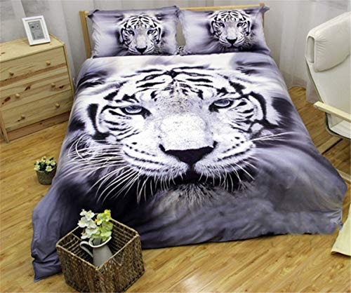 Tiger Duvet Cover 3D Animal White Tiger Printed Bedding Set for Kids Teens Adults No Deformation Soft Microfiber Duvet Cover with 2 Pillowcases (Queen, 3Pcs)