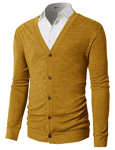 H2H Men's Chunky Knit Sweater Cardigan S-3XL Mustard US S/Asia M (CMOCAL019) ()