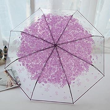 Farway Paraguas Plegable PEVA Romántico de Cerezo Flores, Paraguas Transparente para el Sol y la