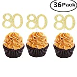 Set of 36 Golden Number 80 Cupcake Toppers 80th Birthday Celebrating Party Decors