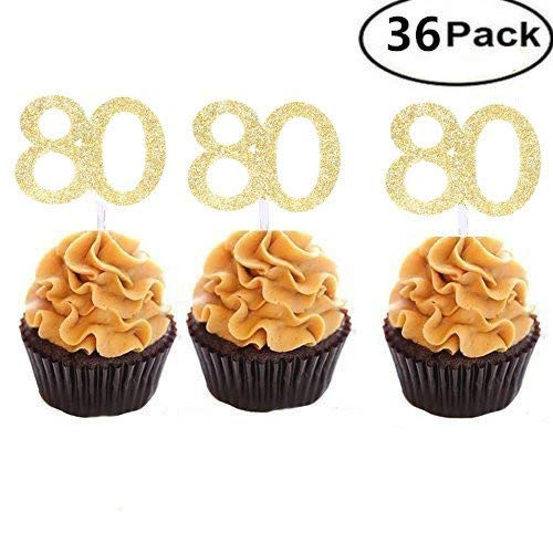 Set of 36 Golden Number 80 Cupcake Toppers 80th Birthday Celebrating Party Decors by MZYARD