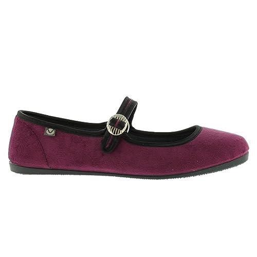 Zapatillas Victoria 04825 - Mercedes de Terciopelo con Hebilla Berenjena: Amazon.es: Zapatos y complementos