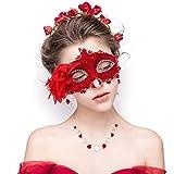 FaceWood Masquerade Mask Mardi Gras Mask for Women Handmade Venetian Party Prom Ball.(Red)