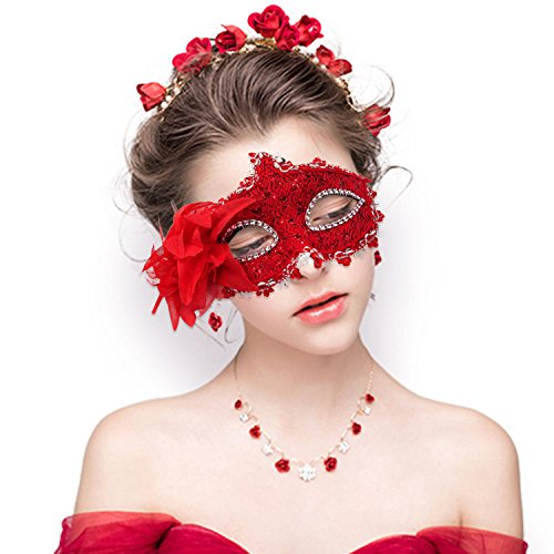 Masquerade Mask for Women Venetian Masks Christmas Sexy Women Flower Half-face Masks Eye mask Cosplay Lace mask]()