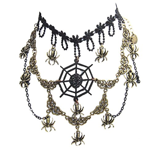 Black Spider Web Choker (Gothic Black Lace Cosplay Spider Web Charm Choker Necklace Clavicle Necklace Party Halloween)