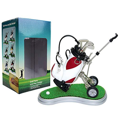 Kofull Mini Desktop Golf Bag Pen Holder Clock Golf Bag Holder Novelty Golf Model with Golf Pen Mini Desktop Gift for Golfer (red white)