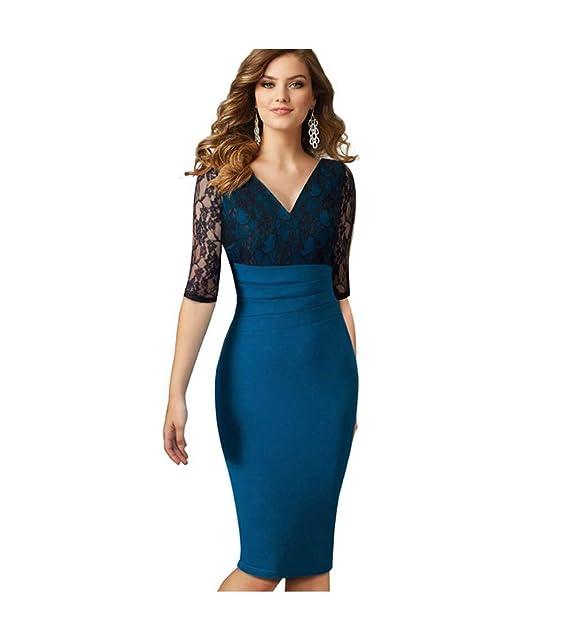 check out 33576 accf9 CHENGYANG Donna Elegante Tubino Sera Vestito Cuciture Pizzo Alto Vita  Bodycon Cerimonia Abito
