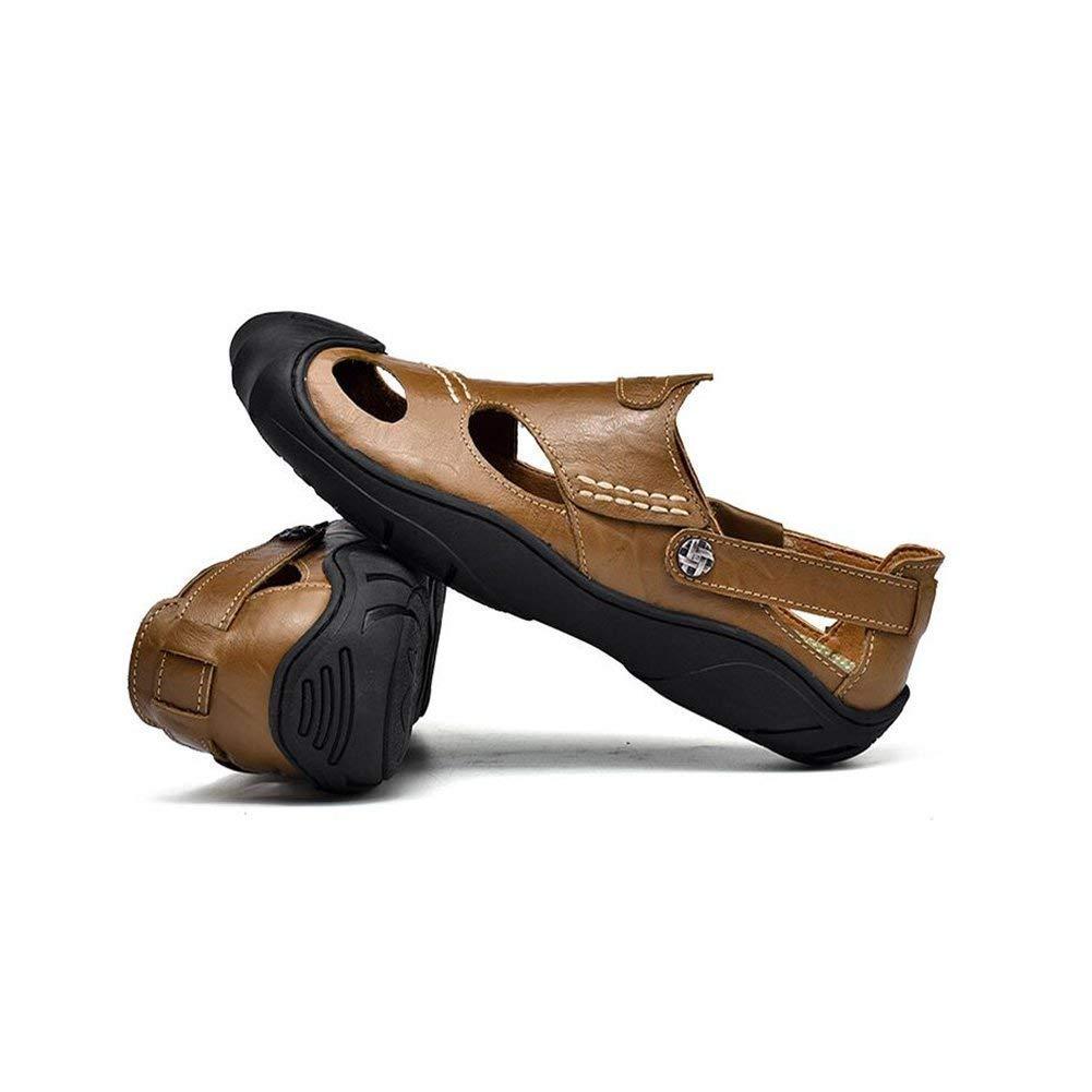 Fuxitoggo Herren Sandalen Sandalen Sandalen Closed Toe Schuhe Mode Strand Sommer Outdoor Schuhe Sport Sandalen Strand Schuhe Leder Casual Breathable Comfy Rutschfeste Wanderschuhe Schuhe (Farbe   B, Größe   45) 7f7a84
