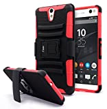 Sony Xperia C5 Ultra Case, NageBee [Heavy Duty] Armor Shock Proof Dual Layer [Swivel Belt Clip] Holster with [Kickstand] Combo Rugged Case for Sony Xperia C5 Ultra - Red