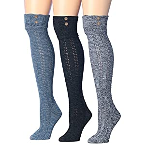 Tipi Toe Women's 3-Pairs Cozy Winter Super Soft Warm Over The Knee High Cotton-Blend Boot Socks (KH01B)