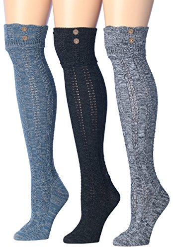 - Tipi Toe Women's 3-Pairs Cozy Winter Super Soft Warm Over The Knee High Cotton-Blend Boot Socks (KH01)