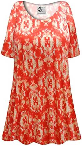 Orange Inkblots Plus Size Supersize Poly/Cotton Extra Long T-Shirt