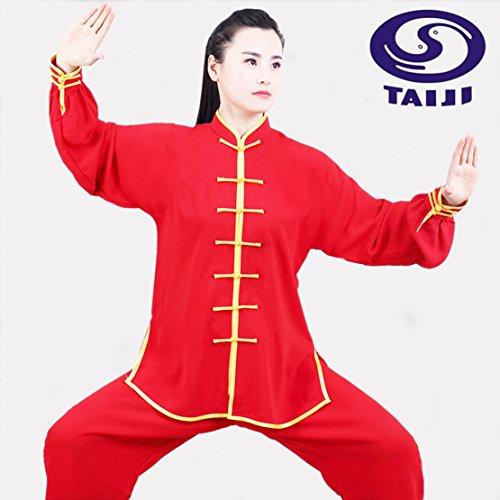 M.S.T. Unisex Cotton Silk Tai Chi Uniform with emboridery Dragon Men Martial Arts Tai Chi Kung fu uniform for Women Tai Chi Clothes (XXL, TCK03)