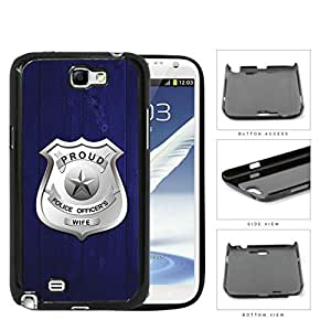 Proud Police Officer's Wife Blue Wood Hard Plastic Snap On Cell Phone Case Samsung Galaxy Note 2 II N7100