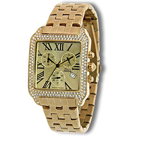 Moog Paris - Think Different - Women / Men Chronograph Watch with white mother of pearl dial, gold strap in stainless steel - - Made in France - M44274F-015