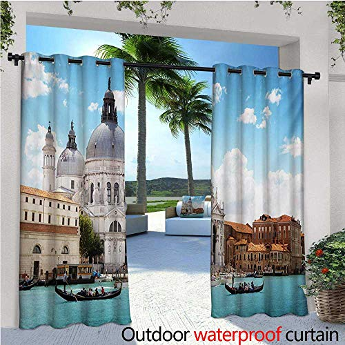 Curtains Grand Canal and Basilica Santa Maria Della Salute Italian Architecture Outdoor Curtain for Patio,Outdoor Patio Curtains W84 x L108 Blue White Pale Coffee ()