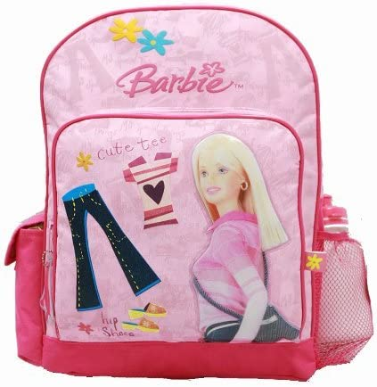 Backpack - Barbie - Large Backpack with Water Bottle - Pink Clothes & Jeans