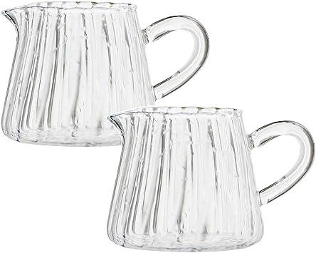 Amazon.com: 2 jarras de vidrio cremoso para servir café, de ...