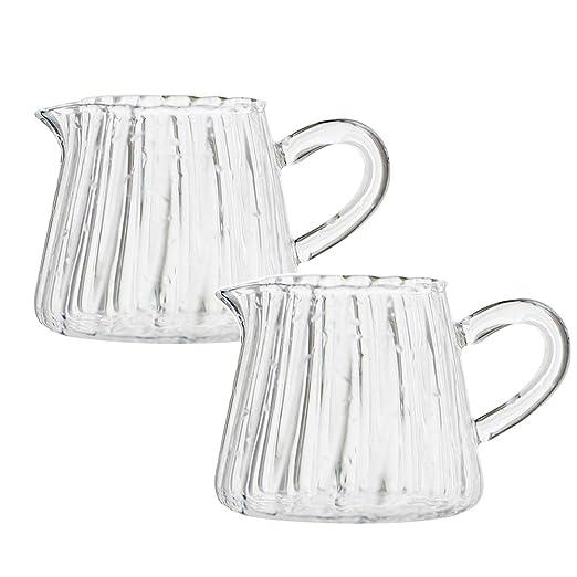 Jarra de leche de vidrio con asa, jarra para servir café para ...