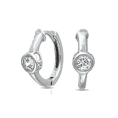 3f999b174 Bling Jewelry 4mm Solitaire CZ Sterling Silver Small Huggie Hoop Earrings:  Amazon.co.uk: Jewellery