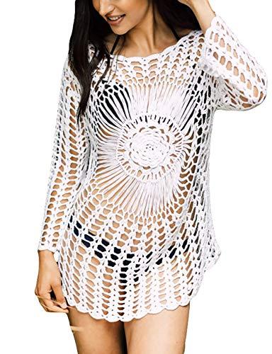 Bsubseach White Knitted Crochet Beach Cover Up Shirt Tunic Top Women Long Sleeve Hollow Out Bikini Swimwear Bathing Suit