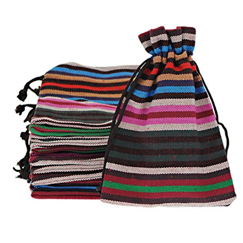 MJartoria 10 Striping Colorful Cotton Linen Cloth Pouch Drawstring Jewelry Bags 3.9 by 5.5 Inches