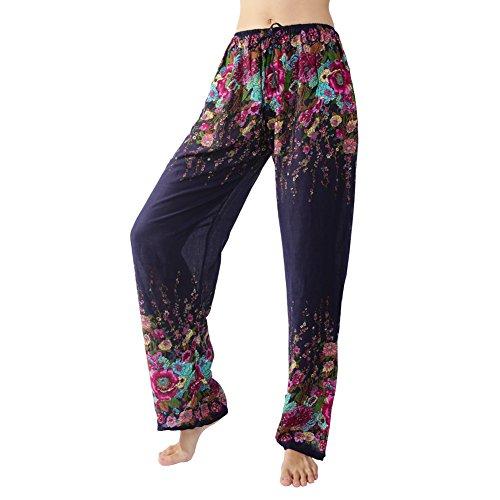 Rita & Risa Wome/n's Boho Long Loose Pajama PJ Sleep Pants Lounge Bottoms, Navy Blue Medium (Tye Dye Workout Pants compare prices)