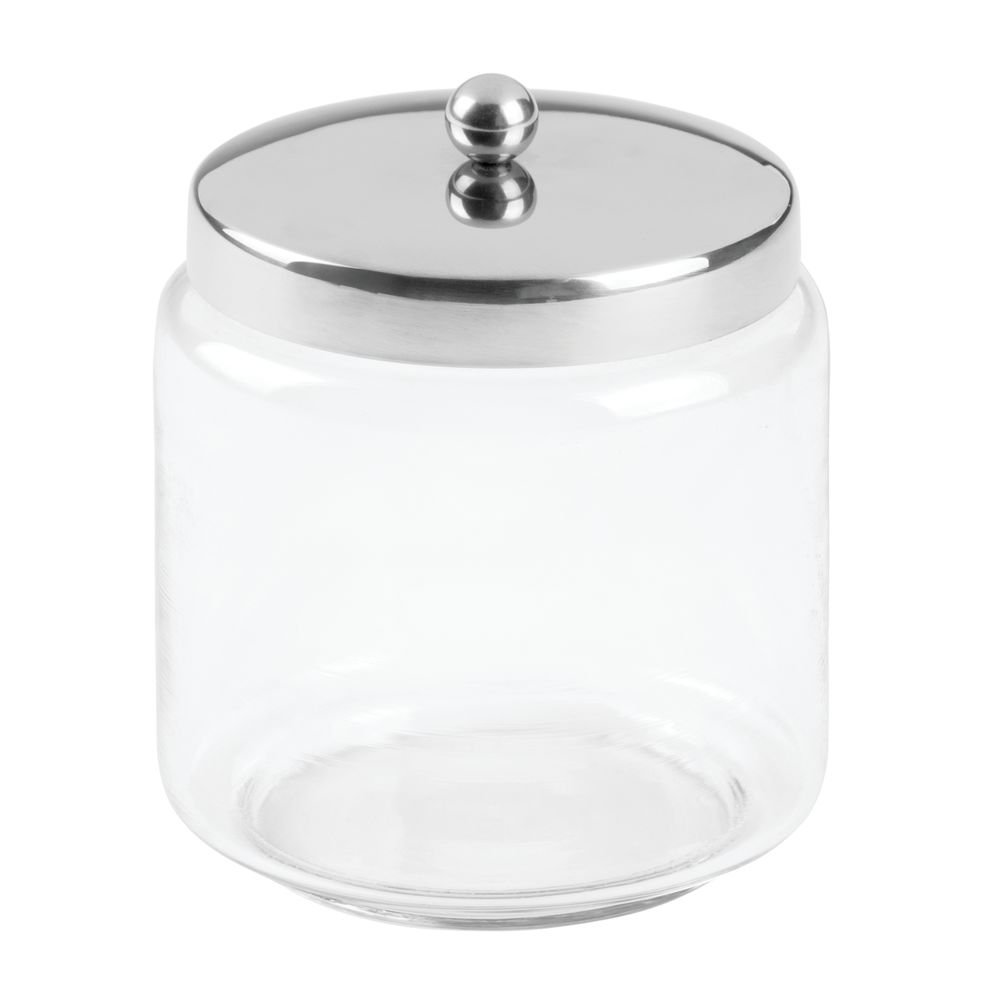 InterDesign Forma Bathroom Vanity Glass Apothecary Jar for Cotton Balls, Swabs, Cosmetic Pads - Medium, Clear/Polished