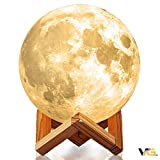 Moon Lamp | Night Light Fixture Gift for Kids, Baby Nursery, Desk, Bedroom, Home Decor | Touch Toggle Color and Brightness | Rechargeable via USB | Luna Lunar Globe | Voyager Gold (3.25 in)