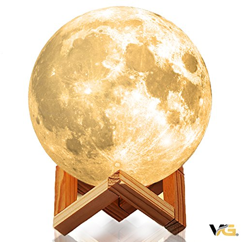 Moon Lamp | Night Light Fixture Gift for Kids, Baby Nursery, Desk, Bedroom, Home Decor | Touch Toggle Color and Brightness | Rechargeable via USB | Luna Lunar Globe | Voyager Gold (6 in)