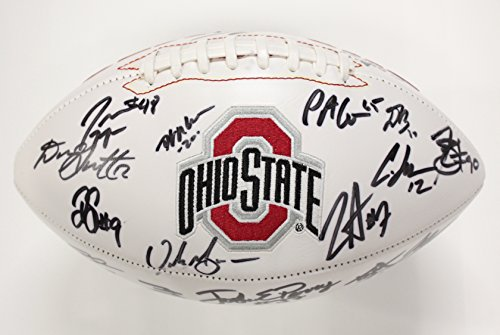 Ohio State Buckeyes 2014-2015 National Champions Team Signed Autographed White Logo Football Meyer Elliott Bosa Miller PAAS COA