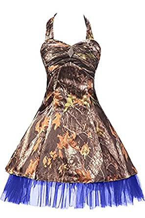iLovewedding Mini Camo Prom Party Dresses Homecoming Bridesmaid Gown With Halter Tulle(Royal Blue 26W)