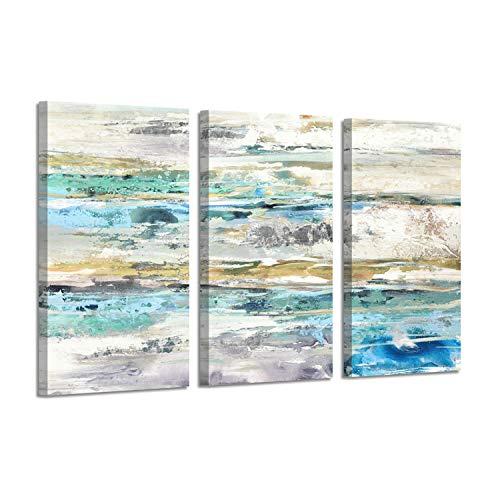 Abstract Seascape Coastal Artwork: Sea Silver Foil Print on Canvas for Wall Decor