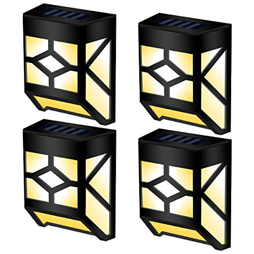 GIGALUMI Solar Deck Lights Outdoor, Waterproof Solar Wall Lights for Outdoor Deck, Patio, Stair, Yard, Path and Driveway,Warm White. (4 Pack)
