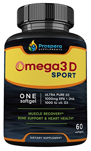 Prospera Omega 3 and Vitamin D Combo. 2000mg of Omega EPA & DHA Fish Oil Plus 2000 IU of Vitamin D3 in JUST 2 Capsules | Heart, Bone & Immune Health. Joint Inflammation. 60 Count