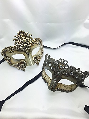 Madusa Couples Masquerade Mask Venetian Roman Mask His and Hers Halloween Unisex Mask]()