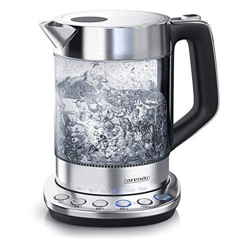 Arendo - Hervidor de Agua de vidrio con control de temperatura - Funcion de retencion de calor - Capacidad 1,5 litros - robusto vidrio borosilicato - estacion base de acero inoxidable