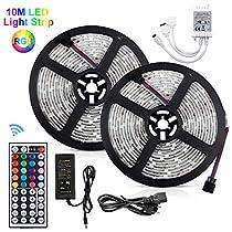 Striscia LED 10M RGB Impermeabile IP65 SMD 5050, Akapola 300 LED TV Retroilluminazione Strisce con controller a 44 tasti, ,Flessibile,Accorciabile,di Luci illuminazione Decorativo per Party casa bar