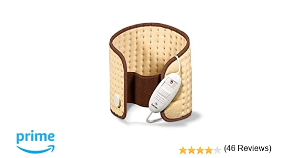 Beurer HK49 - Almohadilla electrónica lumbar/abdomen, superficie suave de microfibras, 3 niveles de temperatura, display iluminado, cinturón con ...