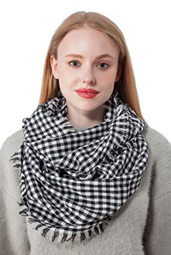 Black White Tartan Infinity Scarf for Women Plaid Lightweight Scarves(X2-BKWT)