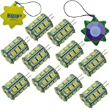 HQRP 10-Pack Bi-pin G4 Tower Type 24 LEDs SMD 5050 LED Bulb Warm White 12V AC/DC for #875 #877 RV Interior / Ceiling / Porch Lights Replacement + UV Meter